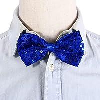 STOBOK Paillette Bow Tie Bowknot para Navidad Baile de Hip-Hop (Azul)