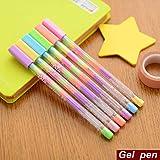 6 pcs/Lot stylo gel arc en ciel multi couleur 0.8mm stylos roller Surligneur fluorescent pour papier noir Papeterie Fournitures scolaires 6555