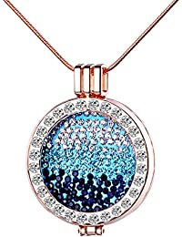 Yumilok Silberfarben/Roségold Liegierung Kristall Auswechselbare Münze Coin Anhänger Medaillon Halskette Pullover Kette mit Anhänger für Damen Mädchen