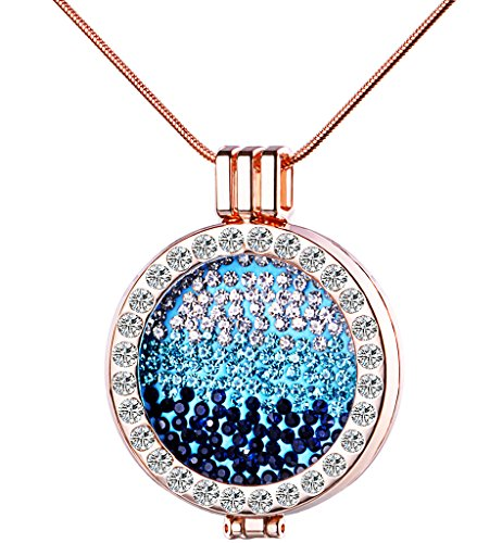 Yumilok Roségold Liegierung Kristall Auswechselbare Münze Coin Anhänger Medaillon Halskette Pullover Kette mit Anhänger für Damen Mädchen