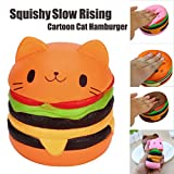 Clearance! Cartoon Cat Hamburger Scented Squishy Toys, HOMEBABY 9cm Animal Stress Relief Toys Squishy Jumbo Cream Scented Squishy Slow Rising Squeeze Strap Kids Gift Fun Soft Toy Jumbo Collection Easter Gift (**UK Children**, orange)