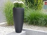 CIGAR - Pflanzkübel aus Fiberglas, Blumenkübel, Pflanzgefäß, Blumengefäß (Ø30 x H60 cm, Schwarz-Anthrazit)