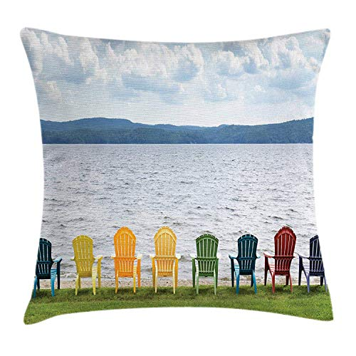 ZMYGH Adirondack Throw Pillow Cushion Cover, Eight Colorful Adirondack Chairs on The Coast Looking Out on The Lake Design, Decorative Square Accent Pillow Case, 18 X 18 Inches, Multicolor - Adirondack Chair Satin