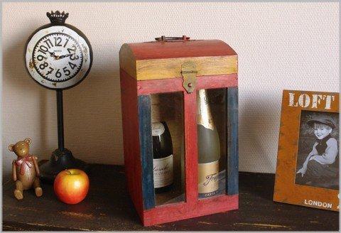 Große Flaschenkiste aus Holz mit Sichtfenster für 4 Flaschen