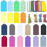 Etichette regalo, etichette in carta da 200 pz, etichette a favore di 9 * 4,5 cm con 4 tipi di corde (20 colori di etichette, 10 pezzi per ogni colore)