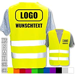 Warnweste Bedruckt mit Ihrem Name Text Bild Logo * echte Reflex-Leuchtstreifen * personalisiertes Design selbst gestalten, Farbe + Größe:Gelb (M/L), Warnweste Druckposition:Rücken + Brust