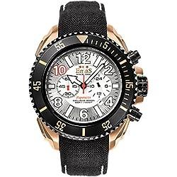 "Emas ""Paparazzi"" Stainless Steel IP Gold Black Swiss Tech Quartz Cronograph Date White Silver Cordura Men's Watch"