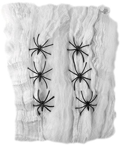 Spider Kostüme Web Ideen (Smiffys, Spinnweben Dekoration, Spinnweben und 6 Spinnen, Weiß und Schwarz,)