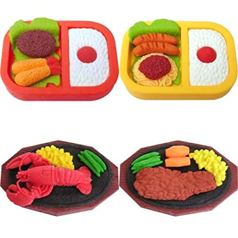 4 Large Bento Box Lunch Dinner Steak Lobster Erasers Japanese IWAKO by Iwako