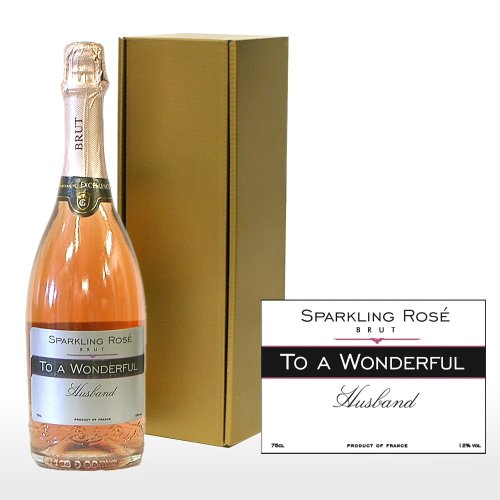 Personalised 'To A Wonderful Husband' 750ml Fine Sparkling Rose in a Gold Gift Box - Gift ideas for Birthday, Anniversary and Congratulations Presents