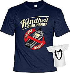 Lustiges Sprüche T-Shirt Set mit Mini T-Shirt Kindheit ohne Handy Ich war dabei! lustiges Geschenk Geschenkartikel