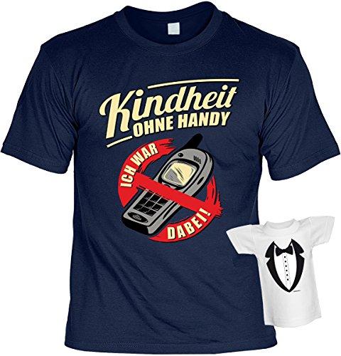 Lustiges Sprüche T-Shirt Set mit Mini T-Shirt Kindheit ohne Handy Ich war dabei! lustiges Geschenk Geschenkartikel Navyblau