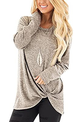 YOINS Women's Plain Round Neck Long Sleeve Loose Fit T-Shirts with Crossed Front Design Blouse Tops