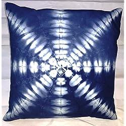 Tradicional Jaipur Indigo teñido funda de almohada 16x 16, gris al aire libre cojines, Tie Dye Manta Decorativa Funda de almohada, Indian cojín, Floral Funda de almohada Sham