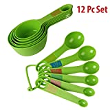 #10: HOKIPO Plastic Measuring Cups and Spoon Set with Ring Holder for Kitchen Cooking and Baking (12 Piece Set) - Green