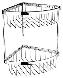 VELMA - TD-315-1 - Étagère De Douche D'Angle Mural / Panier De Douche / Serviteur De Douche - 2 Bacs De Rangement - En Laiton Chromé - Inoxydable - Haute Qualité - Design Intemporel - Format Large