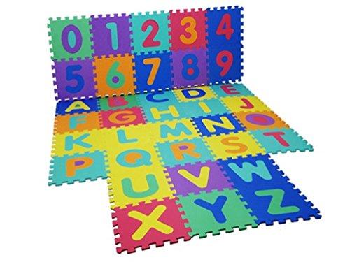 Alfombrilla de aprendizaje grande de 40 piezas, tipo rompecabezas para aprender el alfabeto y los números