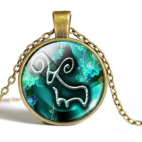 Bronze Anhänger Widder (Horoskop Anhänger 12 Sternzeichen Kette Glas Vintage Bronze Halsschmuck für Damen und Herren Geschenk (Widder))