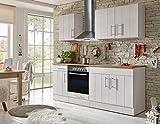 respekta Küche Küchenzeile Küchenblock Landhausküche Einbauküche Komplettküche 210 cm weiß