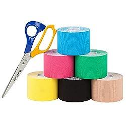 Sl Startape Kinesiologie Tape 6er Set Inklusive Schere - Sporttape Rollen 5 Cm Breit Und 550 Cm Lang - Pflaster Tapes
