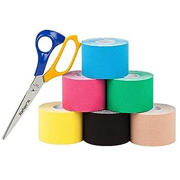 Sl Startape Kinesiologie Tape 6er Set Inklusive Schere - Sporttape Rollen 5 Cm Breit Und 550 Cm Lang - Pflaster Tapes 0