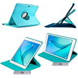 Etui Luxe Turquoise Rotatif fonction Reveil/Sommeil Samsung Galaxy Tab A 9.7 T550 + STYLET et FILM OFFERTS !!