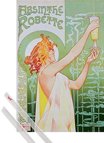 1art1 Poster + Hanger: Historische Werbeplakate Poster (91x61 cm) Absinthe Robette, Henri Privat Livemont, 1896 Inklusive EIN Paar Posterleisten, Transparent
