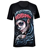 Rock Eagle T-Shirt Damen Shirt Rock Glamrock La Catrina Tattoo Totenkopf Skull Skelett Gothic Angel Blood (M, 4073)