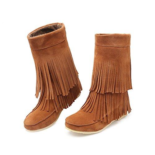 UH Chaussures Femmes Bottines Indiennes avec Frange à Talons Compensees avec Plateforme Bout Rond et Fouffures Douce et Chaud Marron