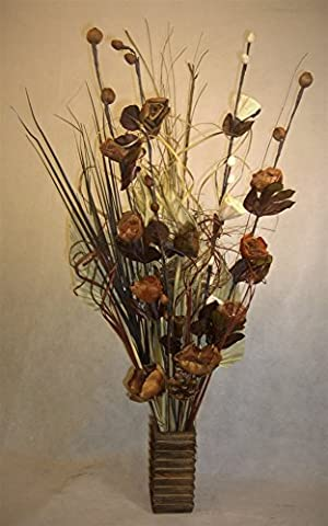 Unique Dried & Artificial Flower Bouquets 85cm Tall with wood Vase made in UK (sun spear natural )
