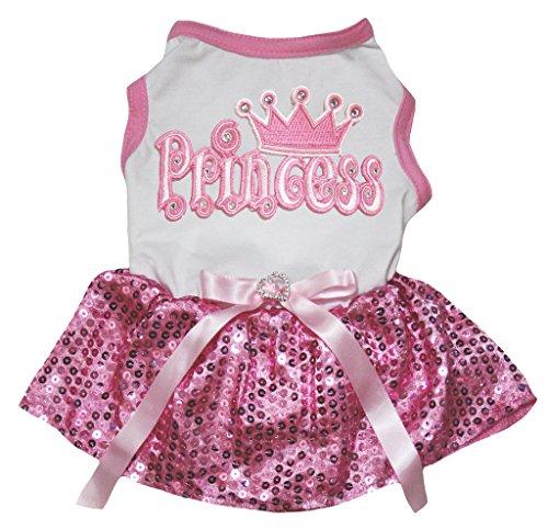 petitebelle Hund Kleid Prinzessin Weiß Baumwolle Shirt pink Pailletten Tutu (Princess-hund-tank)