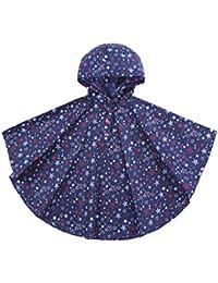 URBEAR Kinder Regenponcho mit Kapuze Stern Regenmantel Wasserdicht Regencape für Unisex Jungen Mädchen,S-XL