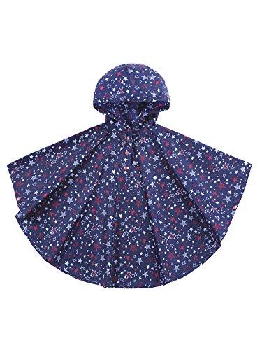 Urbear poncho impermeabile da bambini mantella pioggia antipioggia poncho con bag 80-160cm,blu s(80-100cm