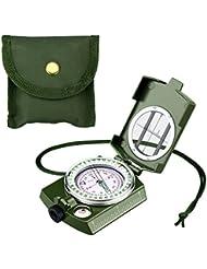 Enkeeo - Boussole militaire Compas ilitaire multifonctionnel Boîtier étanche en métal avec pochette pour navigation Camping Randonnée Voyage d'aventure Vert / camouflage