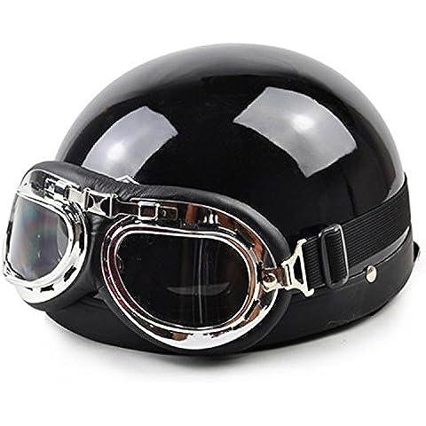 metebu (TM) 2016Nuevo estilo Vintage Open Face mitad de moto & Moto Casco Y Gafas De & Visor capacete