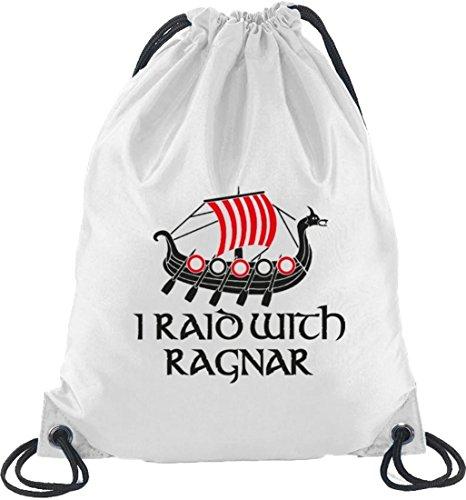 Shirtstreet24, I RAID WITH RAGNAR, Vikings Turnbeutel Rucksack Sport Beutel Weiß