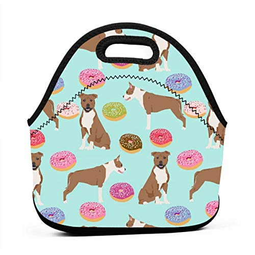 Staffordshire Terrier Dog Mint Donuts Doughnuts Cute Dogs Pet Pets Food Donuts Lunch Bag Insulated Thermal Lunch Tote Outdoor Travel Picnic Carry Case Lunchbox Handbags with Zipper -