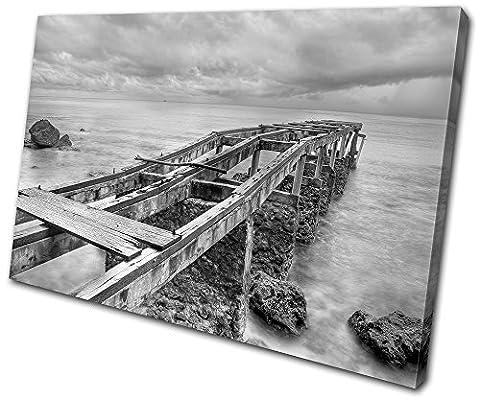 Bold Bloc Design - Sunset Seascape Abandoned Pier - 135x90cm Boîte de tirage d'Art toile encadrée photo Wall Hanging - à la main dans le UK - encadré et prêt à accrocher - Canvas Art Print
