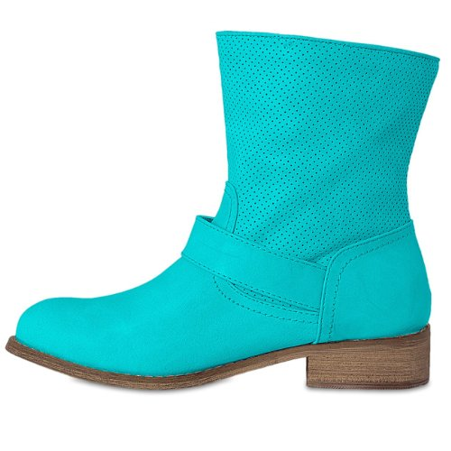 CASPAR - Bottines Biker pour femme - bottes avec strass - 3 coloris - SBO026 Turquoise