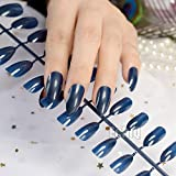 Glänzend Design Almond Candy Tipps Finger Fake Nägel dunkelblau Medium Sharp Stiletto Acryl False Nail accesorries 481P