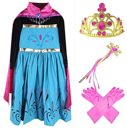 GenialES Costume Vestito Guanti Strato Magic Wand Tiara Principessa Fucsia Carino Regalo di Compleanno Costume Carnevale Halloween Party Cosplay Ragazze