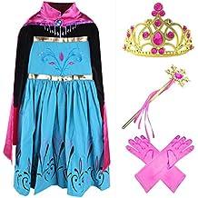 GenialES® Disfraz Vestido con Capa Guantes Varita Mágica Tiara Diadema Fucsias de Princesa Lindo Regalo Cumpleaños Disfraz de Carnaval Fiesta Cosplay Boda Halloween para Niñas