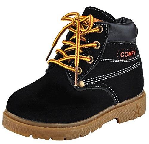 DADAWEN Baby Mädchen Boots Jungen Schneestiefel Wasserdicht Ankle Boots-Schwarz 26 (Boot Co-leder Ankle)