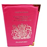 Passport Holder For UK And European Passport Protector Cover Wallet PU Leather by Lizzy® (Hot Pink)