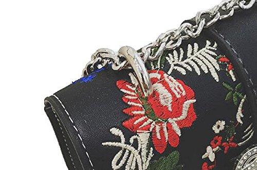 Fabelhaft Stickerei Blumen Kleine Quadratische Tasche Mode Lock Kette Schulter Messenger Bag White