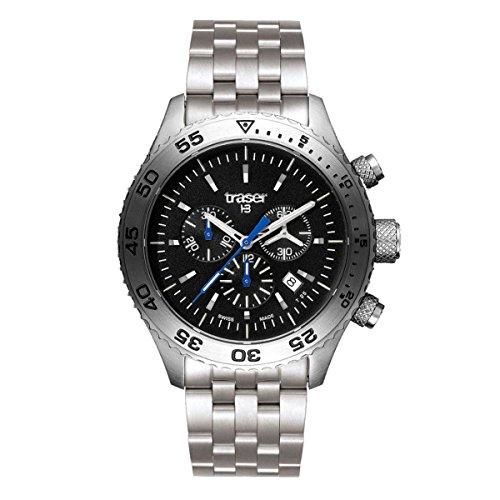 Traser H3Aurora chronographe Saphir montre–Noir–Bracelet en acier