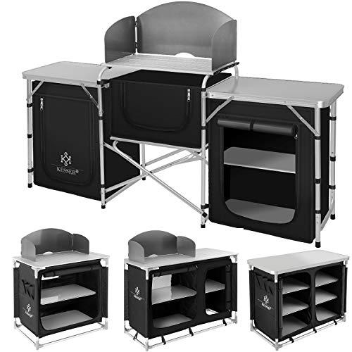Kesser® Campingküche | Ink. Tragetasche | Campingschrank | mit Aluminiumgestell | Reiseküche | Küchenbox | Zeltschrank | Outdoor Camping Küche | Modelle wählbar Camping Küche