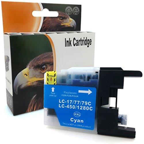 D&C Druckerpatrone CYAN xxl für Brother LC-1280 MFC J5910 DW J6510 W J6710 DW J6910 DW ersetzt LC-1280 LC17/77/79 LC450/1280 -