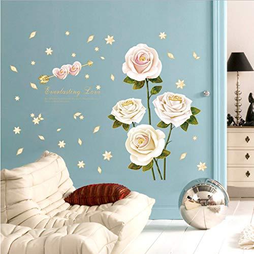 Homk101 Weiße Rose PVC Wandaufkleber Schlafzimmer Esszimmer Wandtattoo Wasserdichte Dekorative 3D Kunst Tv Hintergrund Aufkleber Wandbild