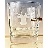 Jäger Geschenk-Trink Glas mit realem Geschoß cal.308 und Gravur -Waidmannsheil-